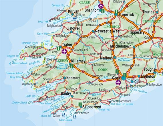 Map Of Ireland Kenmare.Kerry Ocean Lodge